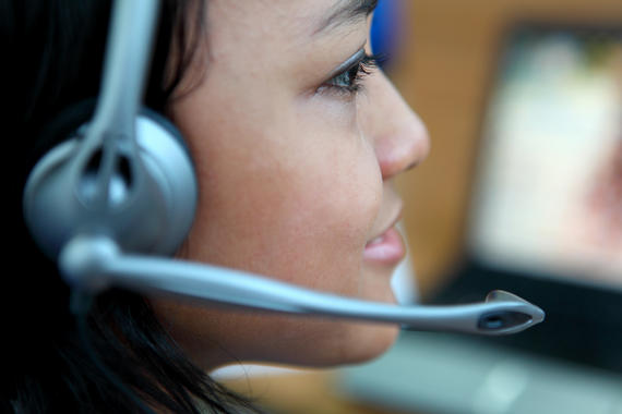 Close up of businesswoman in headset